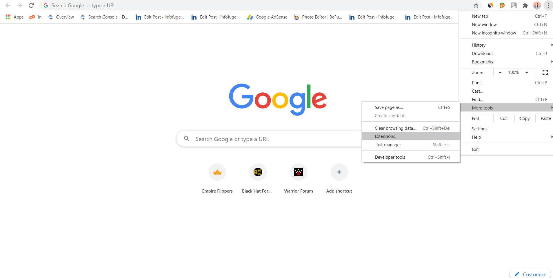 Clear Browing Cache on Chrome